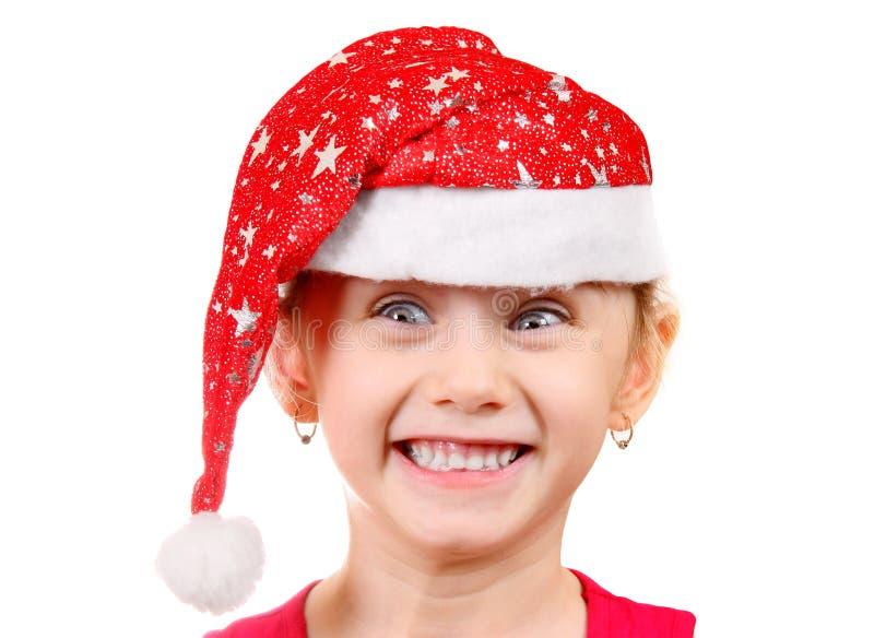 menina no chapéu de Santa fotos de stock