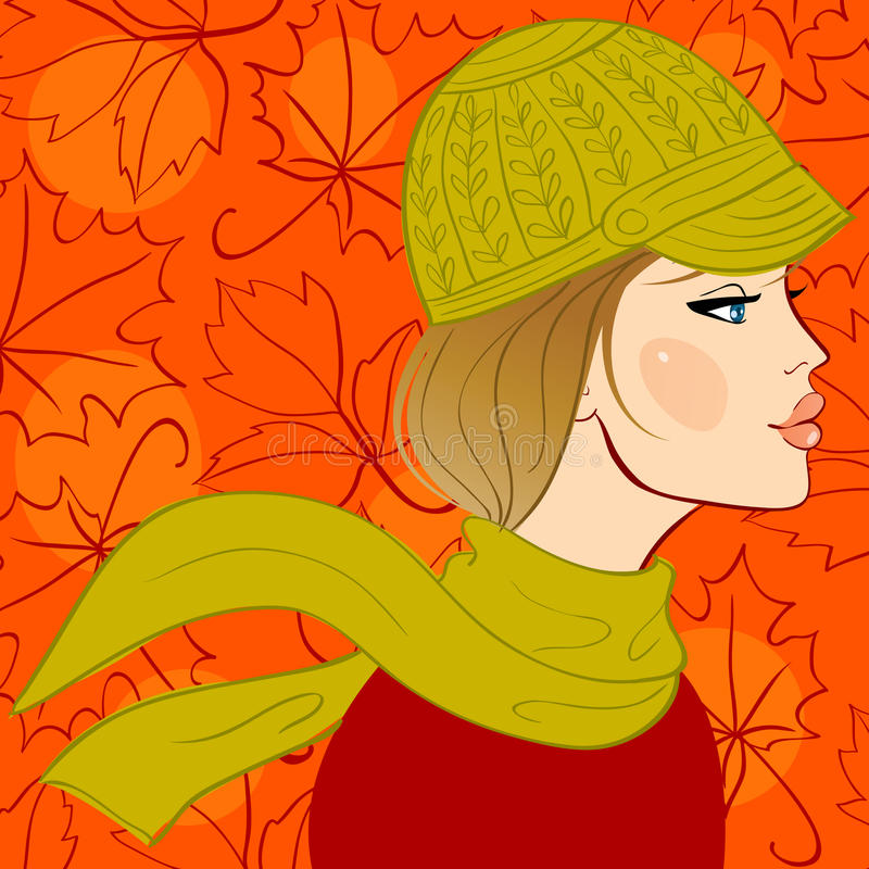 Menina no chapéu do outono ilustração stock