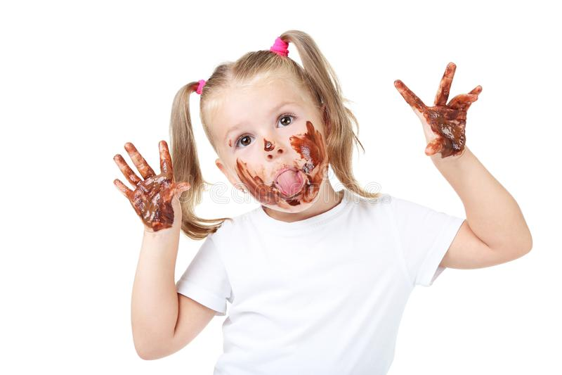 Menina no chocolate foto de stock royalty free