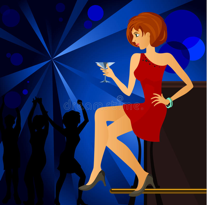 Menina no clube noturno ilustração royalty free