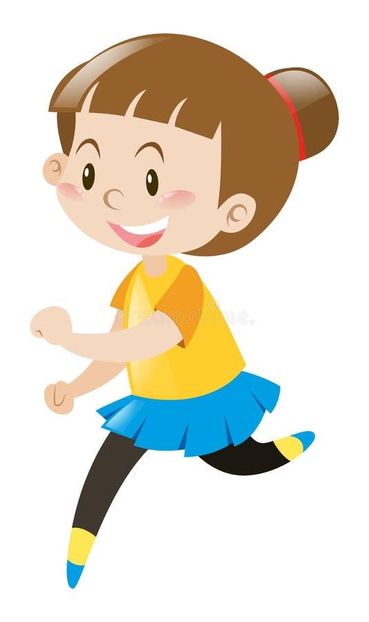 Menina no corredor amarelo da camisa ilustração royalty free
