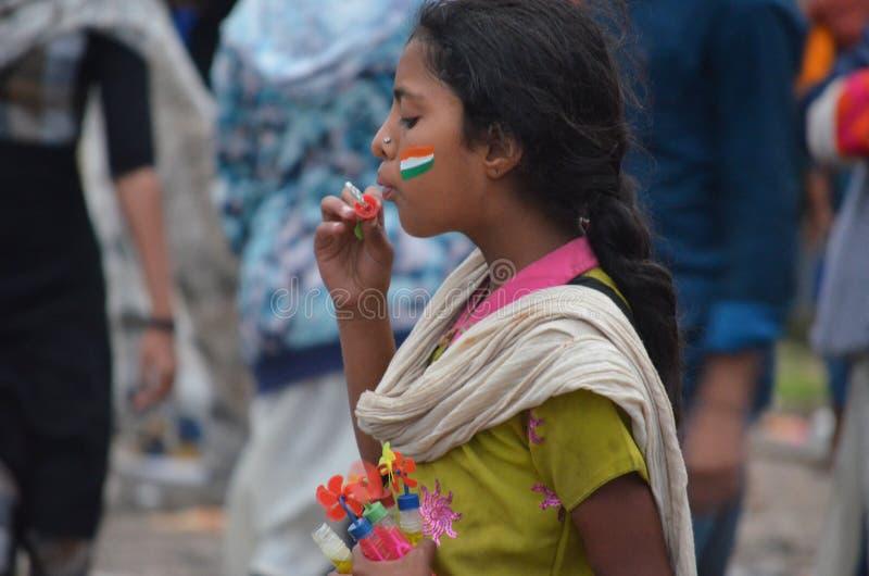 Menina no dia do indipendence em Lalbagh Bangalore fotografia de stock