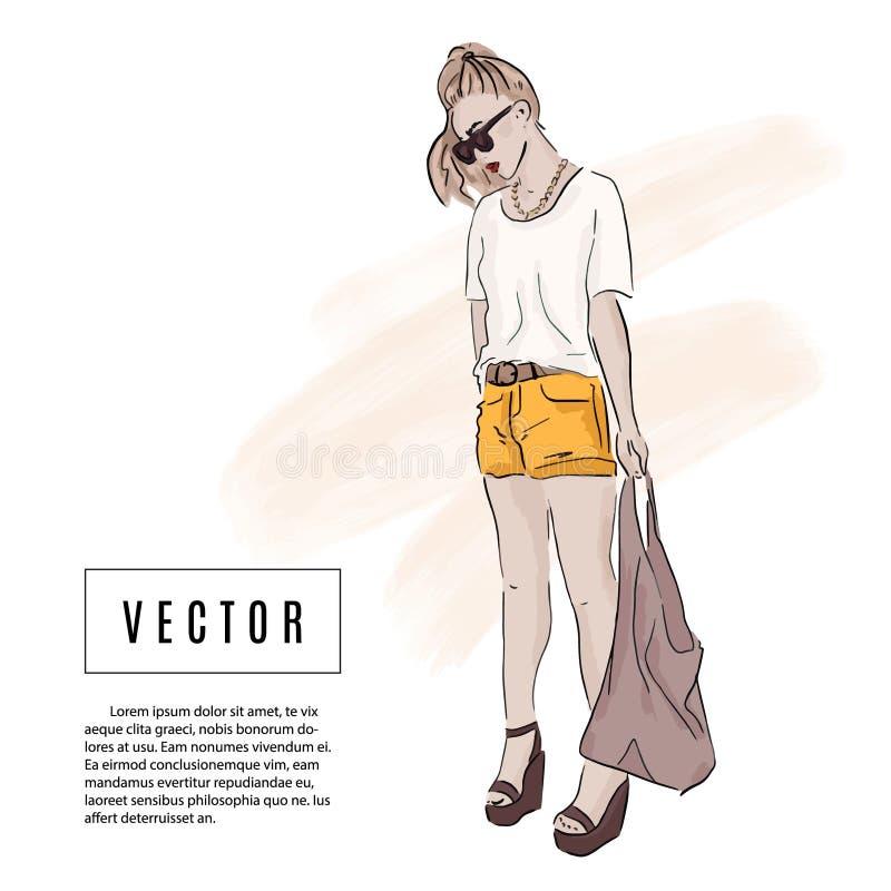 Menina no equipamento do verão: o short, camisa de t, saco, óculos de sol esboça a ilustração Desenho da aquarela da forma Modelo ilustração royalty free