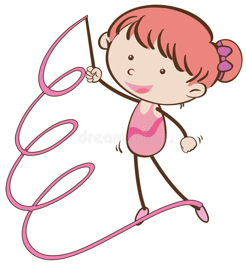 Menina no equipamento ginástico com fita cor-de-rosa ilustração stock