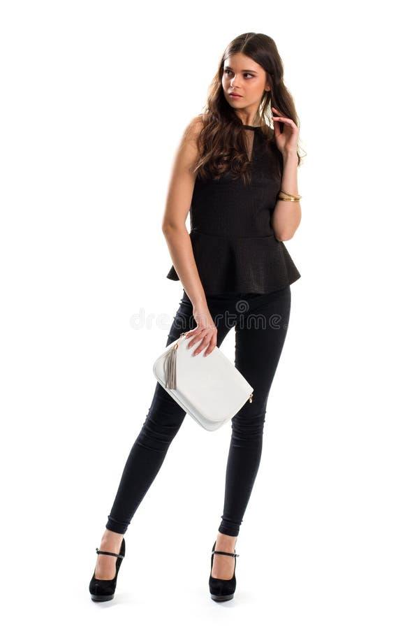 Menina no equipamento preto imagens de stock