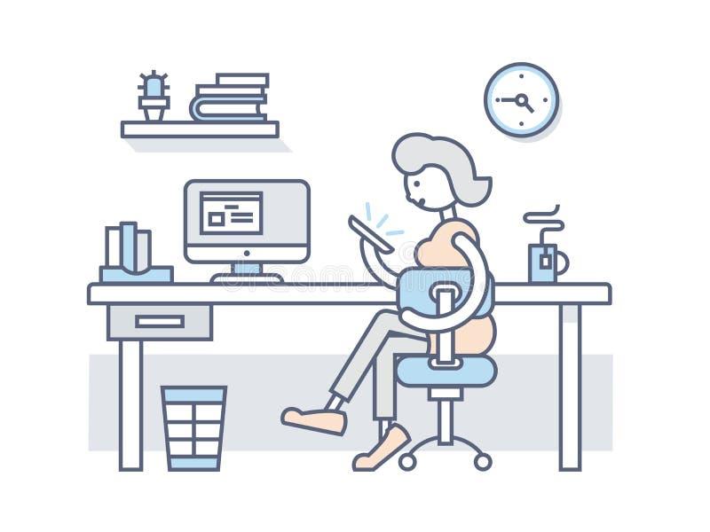 Menina no escritório que olha no smartphone ilustração royalty free