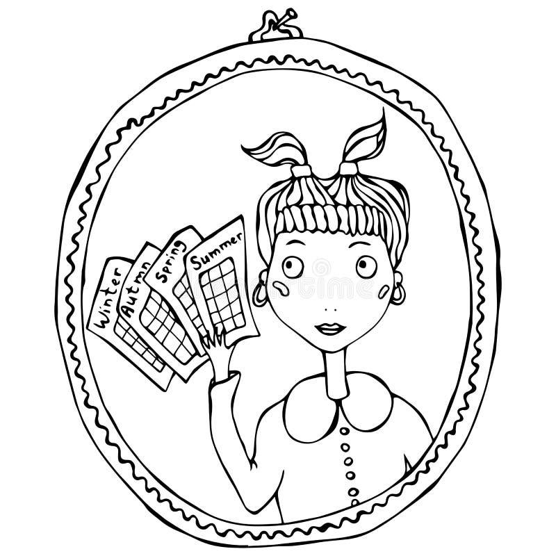 Menina no espelho que pensa sobre o tipo da estação de cores fêmeas Ilustração do vetor ilustração do vetor