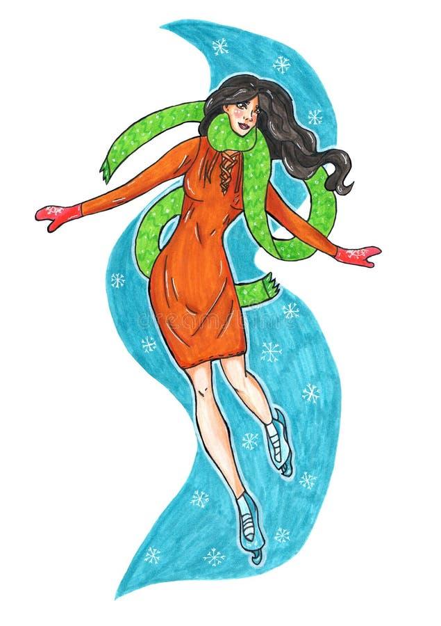 Menina no gelo com lenço e vestido ilustração do marcador para o cartão ou o negócio ilustração stock