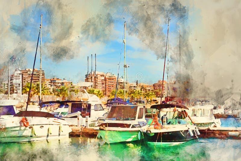 Menina no iate da lavagem do biquini no porto de Torrevieja ilustração royalty free