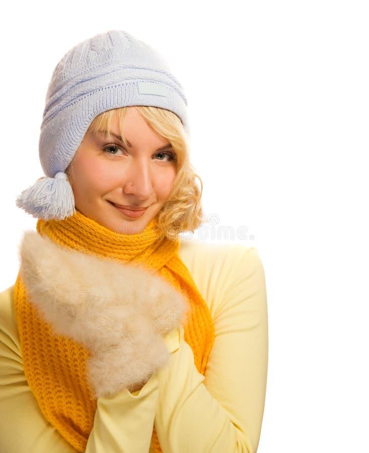 Menina no inverno ocasional foto de stock royalty free