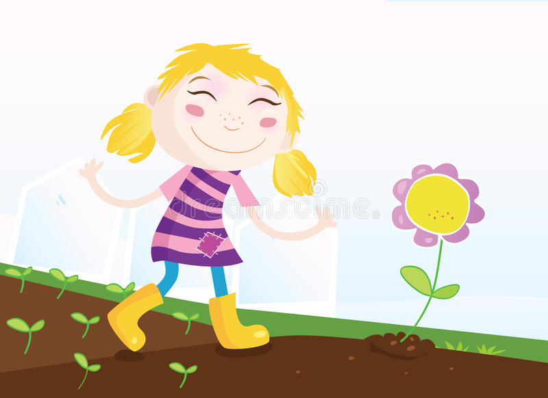 Menina no jardim ilustração stock