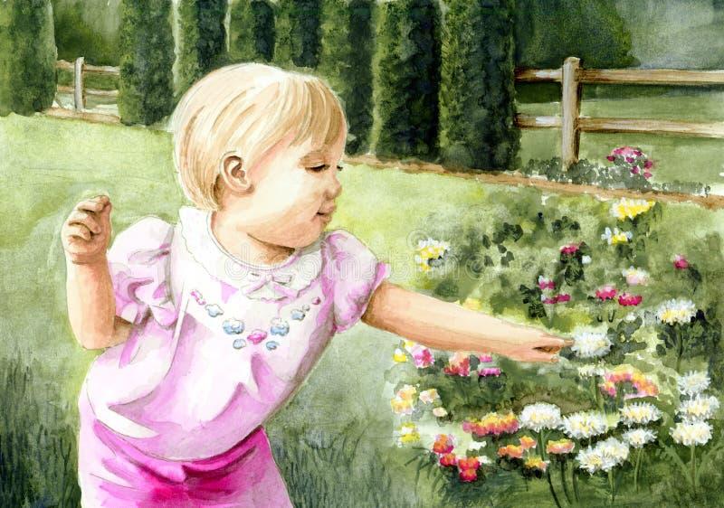 Menina no jardim de flor ilustração royalty free