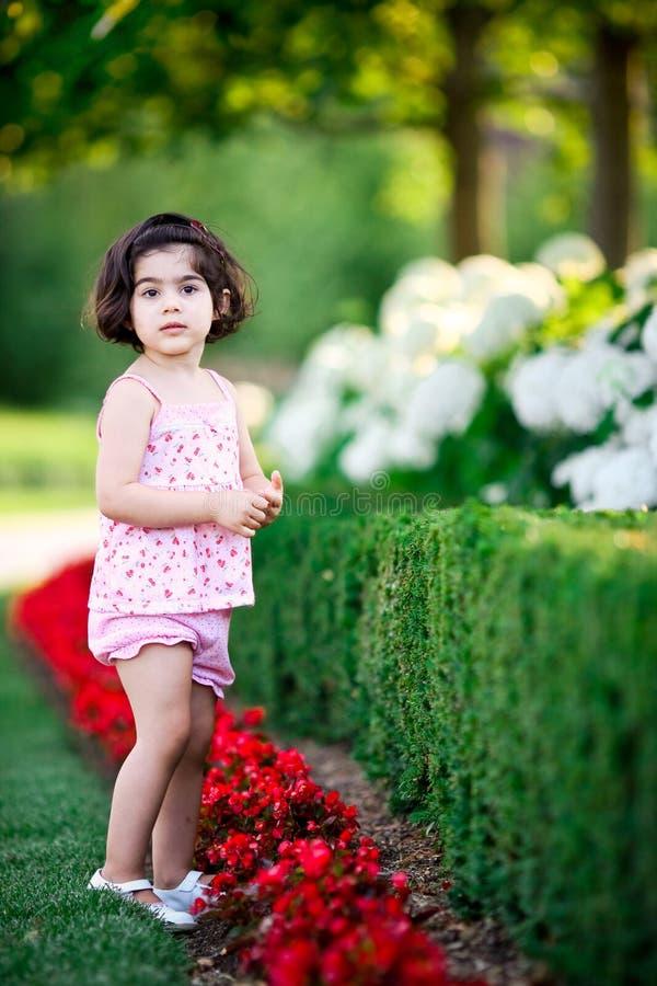Menina no jardim de flor fotos de stock royalty free