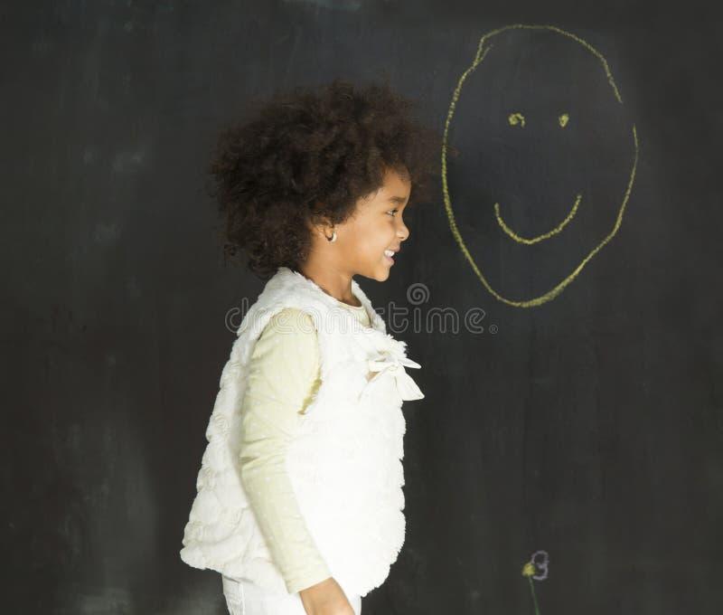 Menina no jardim de infância foto de stock