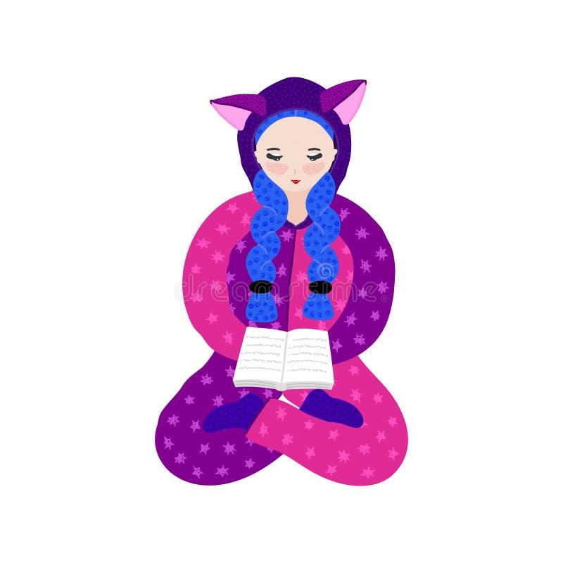 Menina no livro de leitura do pijama do kigurumi Personagem de banda desenhada bonito tirado mão no fato-macaco com orelhas pasti ilustração stock