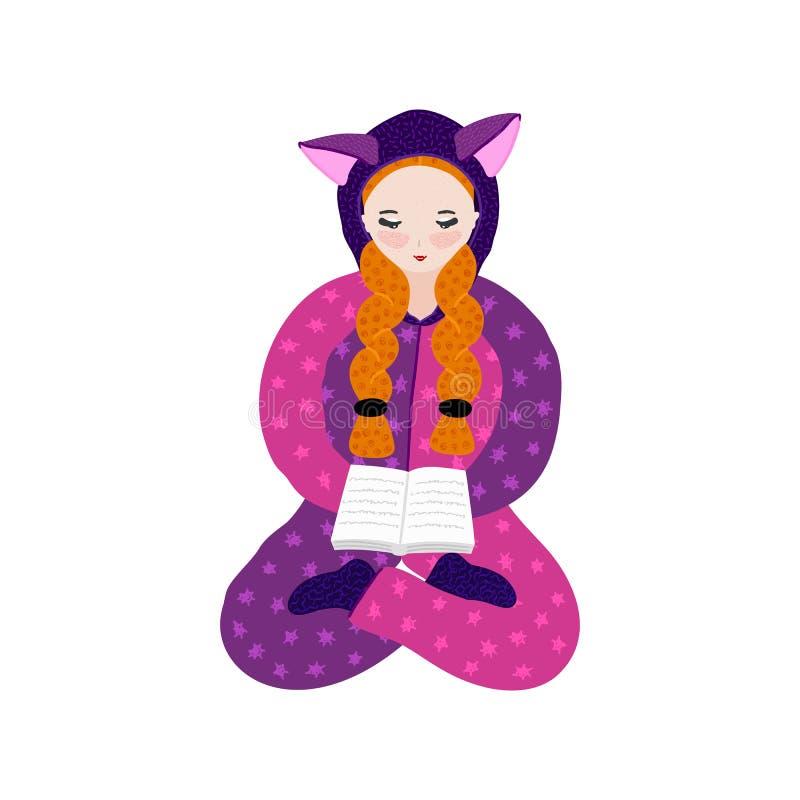 Menina no livro de leitura do pijama do kigurumi Personagem de banda desenhada bonito tirado mão no fato-macaco com orelhas pasti ilustração do vetor