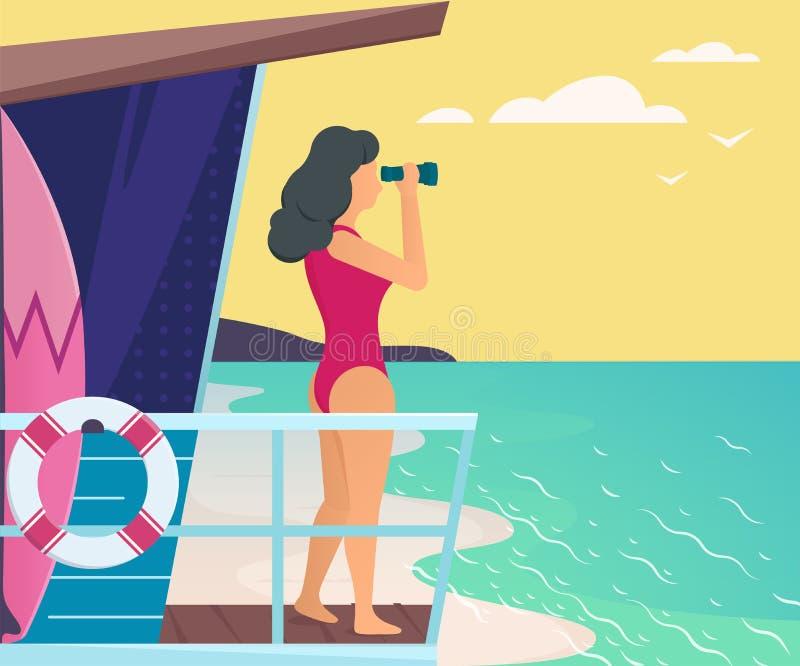 Menina no mar ilustração royalty free