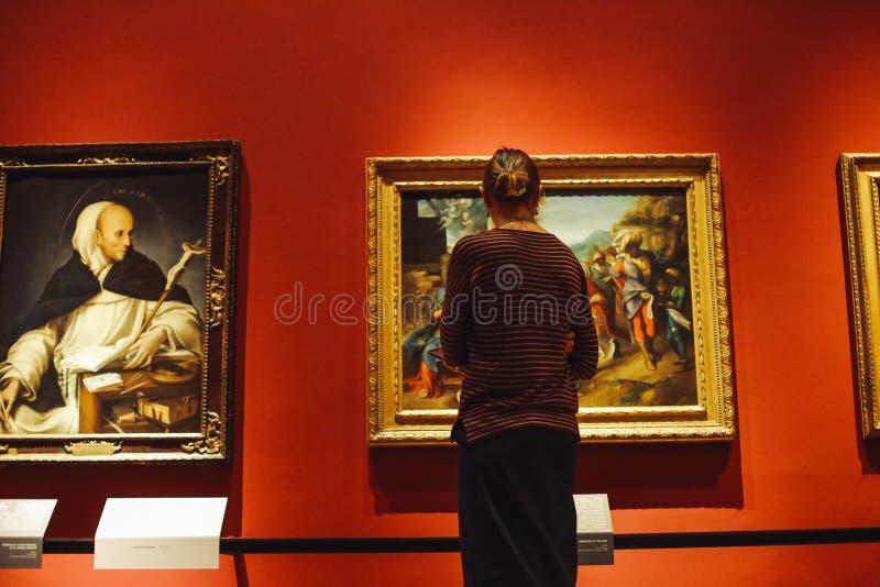 Menina no museu no fundo das pinturas foto de stock