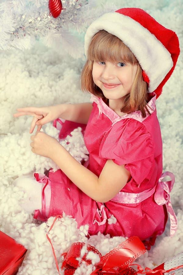Menina no Natal fotos de stock