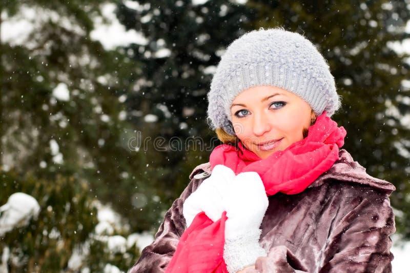 Menina no parque do inverno imagens de stock royalty free