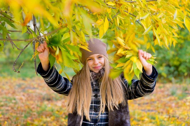 Menina no parque do outono com folhas imagem de stock