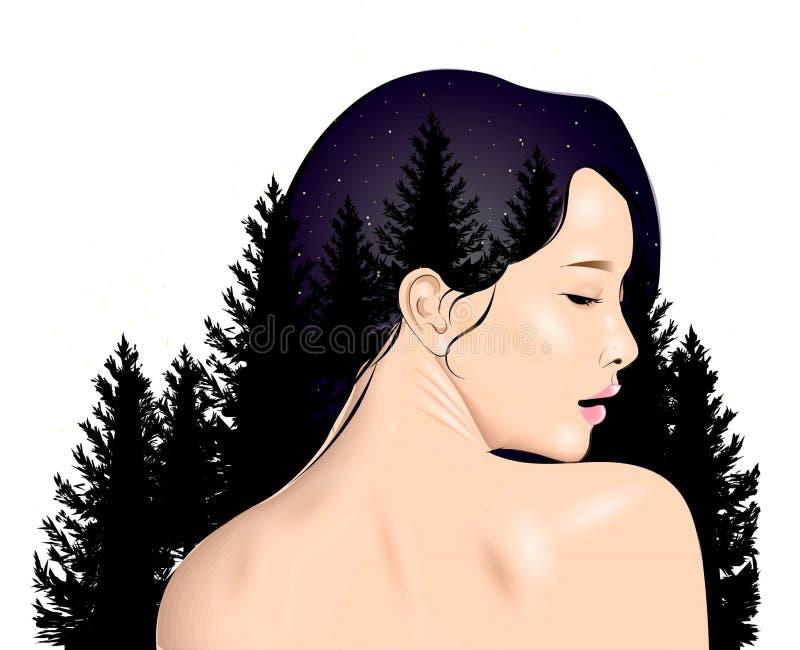 Menina no perfil com paisagem ilustração royalty free
