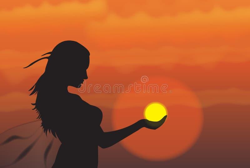 Menina no por do sol ilustração royalty free