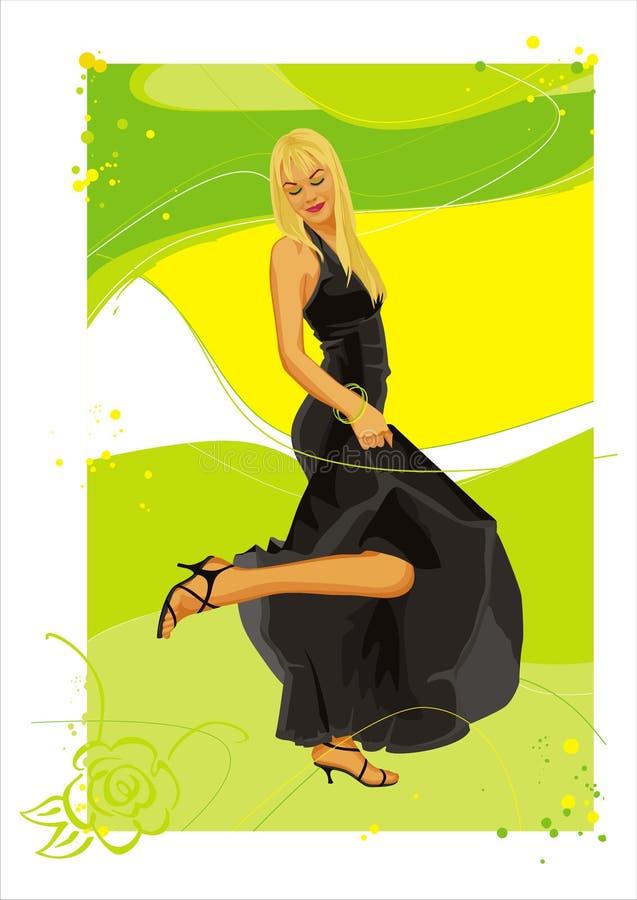 Menina no preto ilustração royalty free