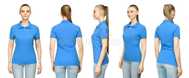 Menina no projeto azul vazio do modelo do polo para a cópia e a jovem mulher do molde do conceito na opinião traseira da parte di fotos de stock
