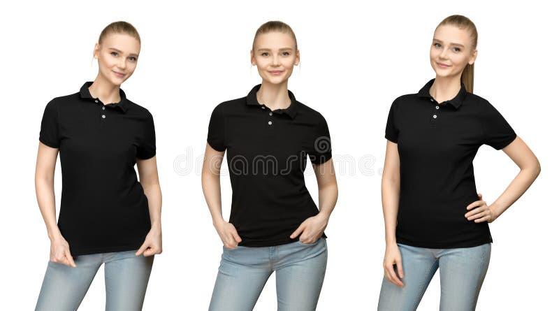 Menina no projeto preto vazio do modelo do polo para a cópia e a jovem mulher do molde na parte dianteira do t-shirt e na opinião foto de stock