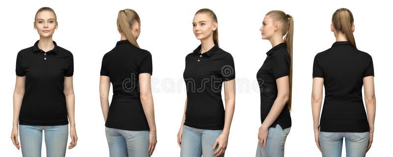 a menina no projeto preto vazio do modelo do polo para a cópia e a mulher do molde nside da volta da parte dianteira do t-shirt n imagem de stock