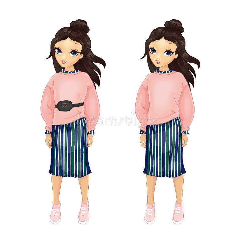 Menina no pulôver cor-de-rosa e em saia listrada ilustração stock