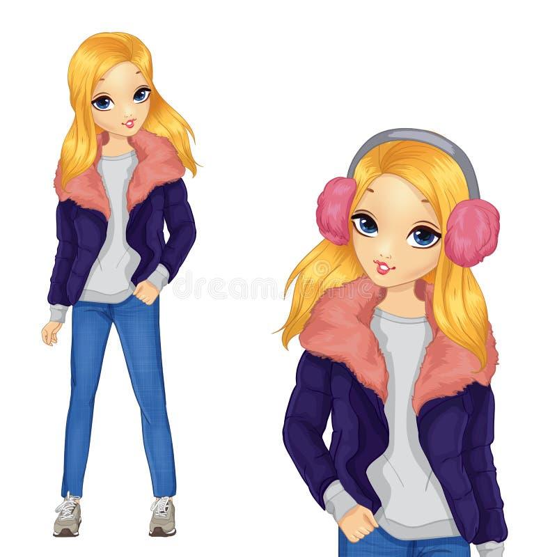Menina no revestimento com pele cor-de-rosa ilustração stock
