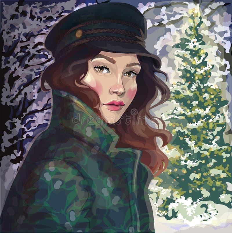 A menina no revestimento e o chapéu no inverno estacionam ilustração stock