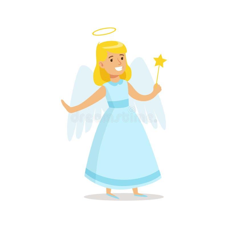 Menina no símbolo dos feriados de Angel Outfit Dressed As Winter para o partido do carnaval do Natal do traje ilustração do vetor