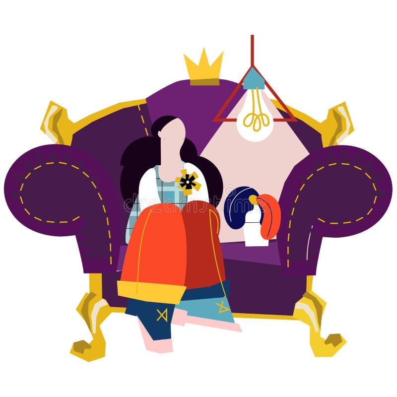 Menina no sofá Ilustração lisa dos desenhos animados do vetor ilustração do vetor