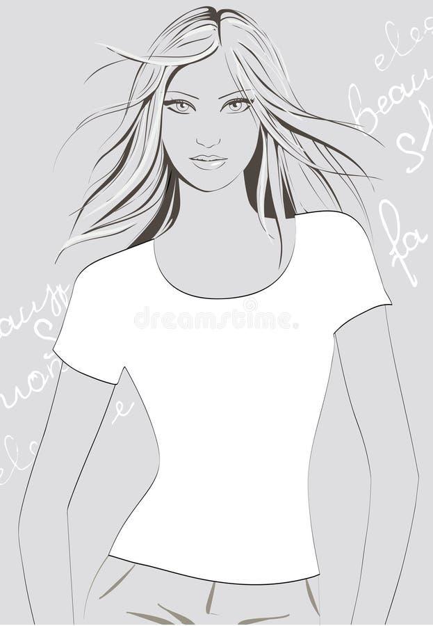 Menina no t-shirt ilustração stock