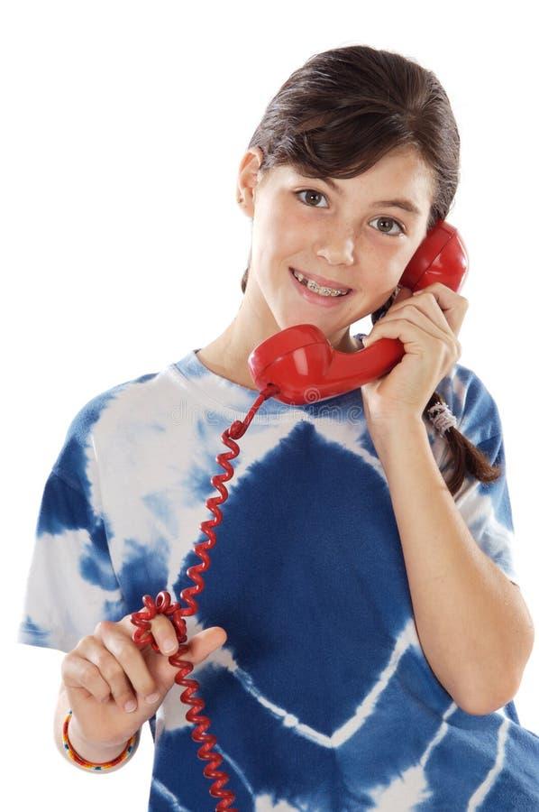 Menina no telefone imagens de stock