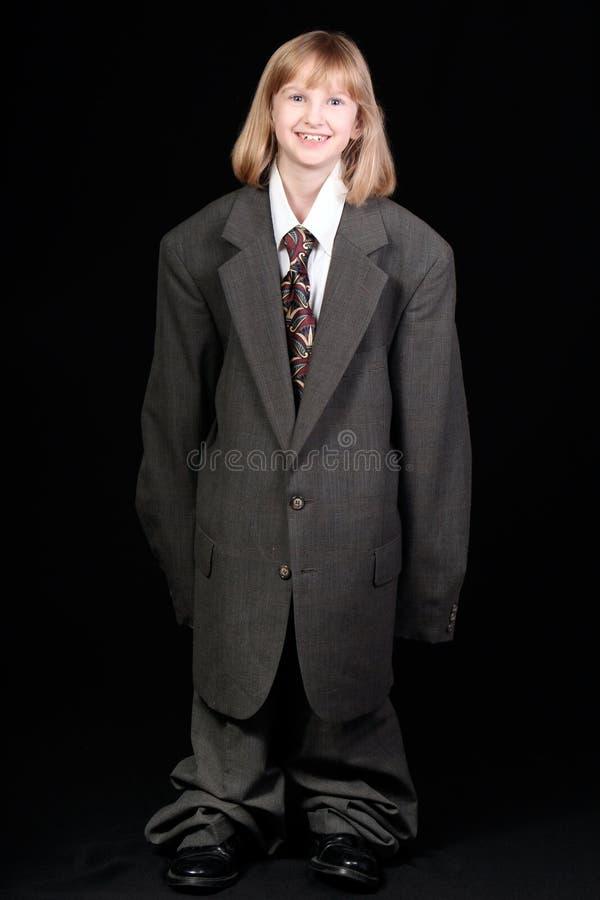 Menina no terno de negócio do paizinho fotografia de stock royalty free