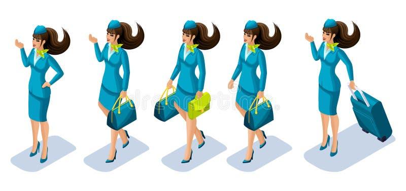 Menina no trabalho, uma menina do aeromoço de Isometry em um terno, um uniforme, coisas levando, bagagem, uma mala de viagem, rou ilustração stock
