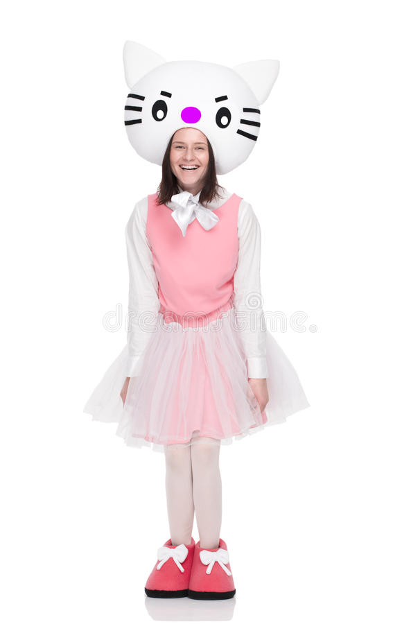 A menina no traje do gato do brinquedo mante distraído foto de stock royalty free