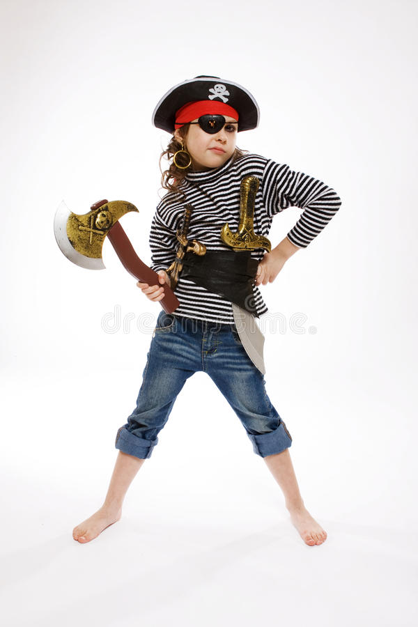 Menina no traje do pirata foto de stock royalty free