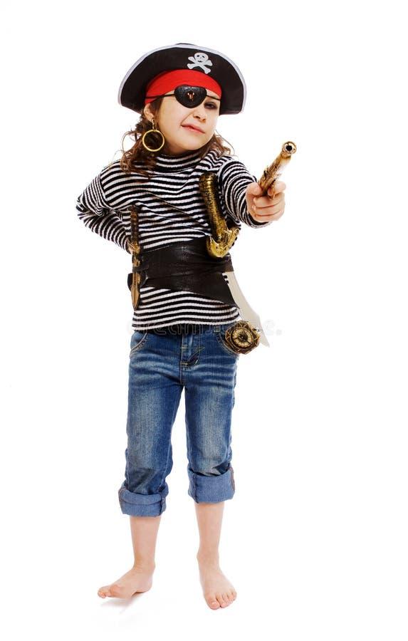 Menina no traje do pirata imagem de stock