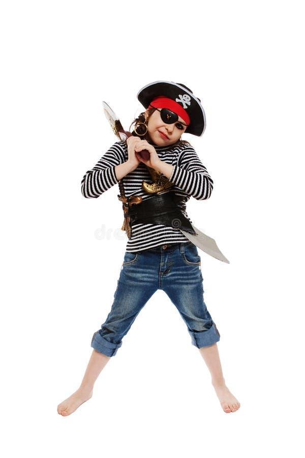 Menina no traje do pirata fotografia de stock royalty free