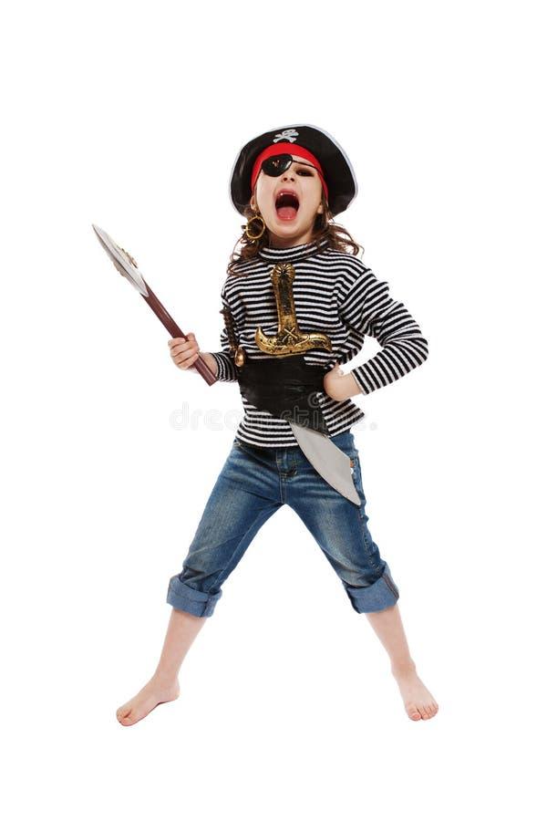Menina no traje do pirata fotos de stock