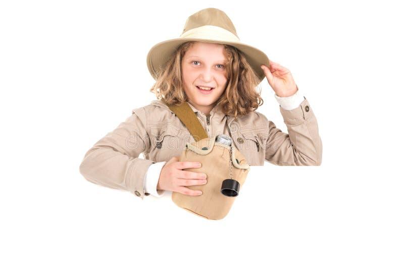 Menina no traje do safari foto de stock royalty free
