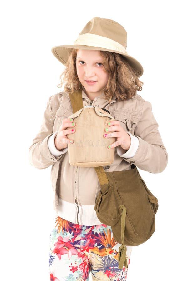 Menina no traje do safari imagens de stock