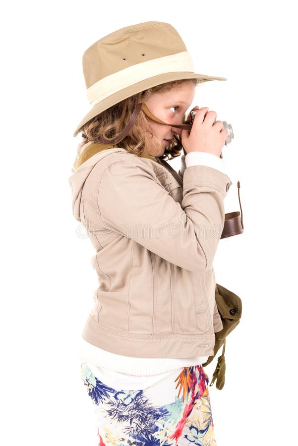 Menina no traje do safari foto de stock