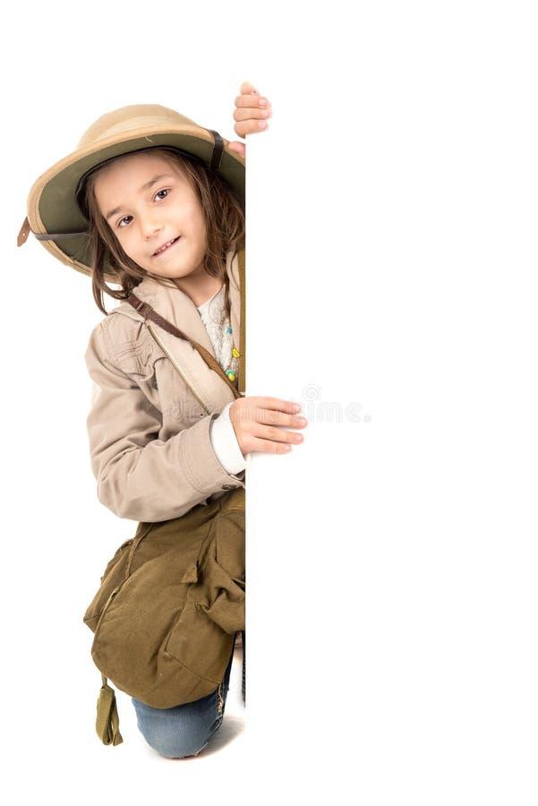 Menina no traje do safari fotos de stock royalty free