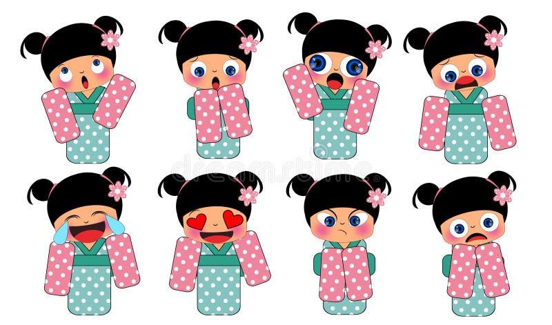 Menina no traje tradicional de japão ilustração royalty free